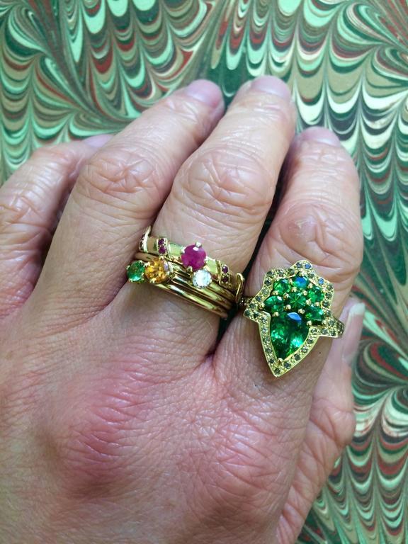 Ana De Costa Yellow Gold Round Ruby Tsavorite Garnet Diamond Stacking Rings For Sale 3