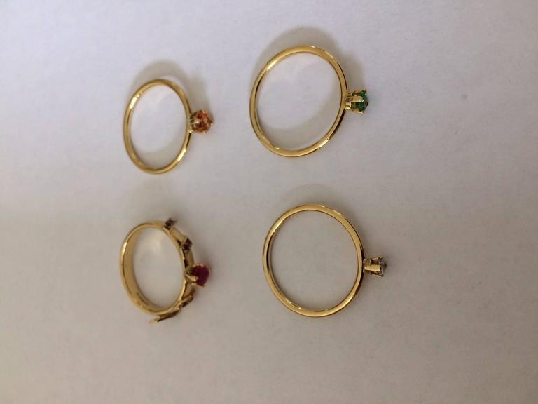 Ana De Costa Yellow Gold Round Ruby Tsavorite Garnet Diamond Stacking Rings For Sale 4