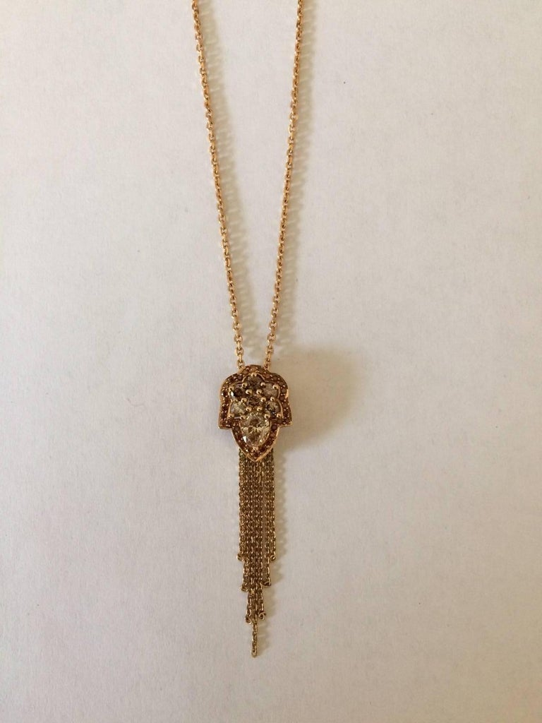 Ana De Costa Rose Gold Pear Round Cognac Diamond Drop Chain Pendant In As New Condition For Sale In London, GB