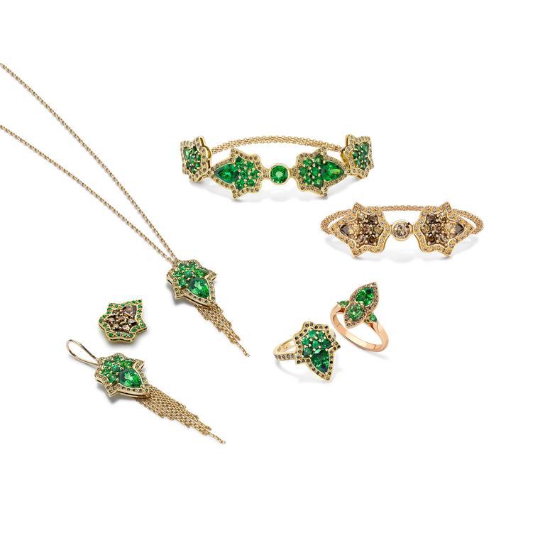 Ana De Costa Rose Gold Pear Round Cognac Diamond Drop Chain Earrings For Sale 5