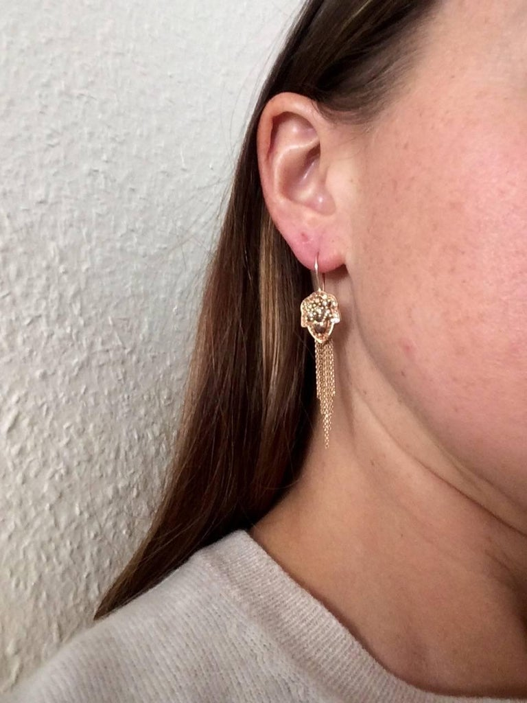 Ana De Costa Rose Gold Pear Round Cognac Diamond Drop Chain Earrings For Sale 2