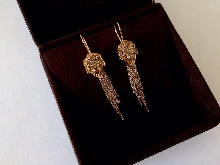 Ana De Costa Rose Gold Pear Round Cognac Diamond Drop Chain Earrings For Sale 4