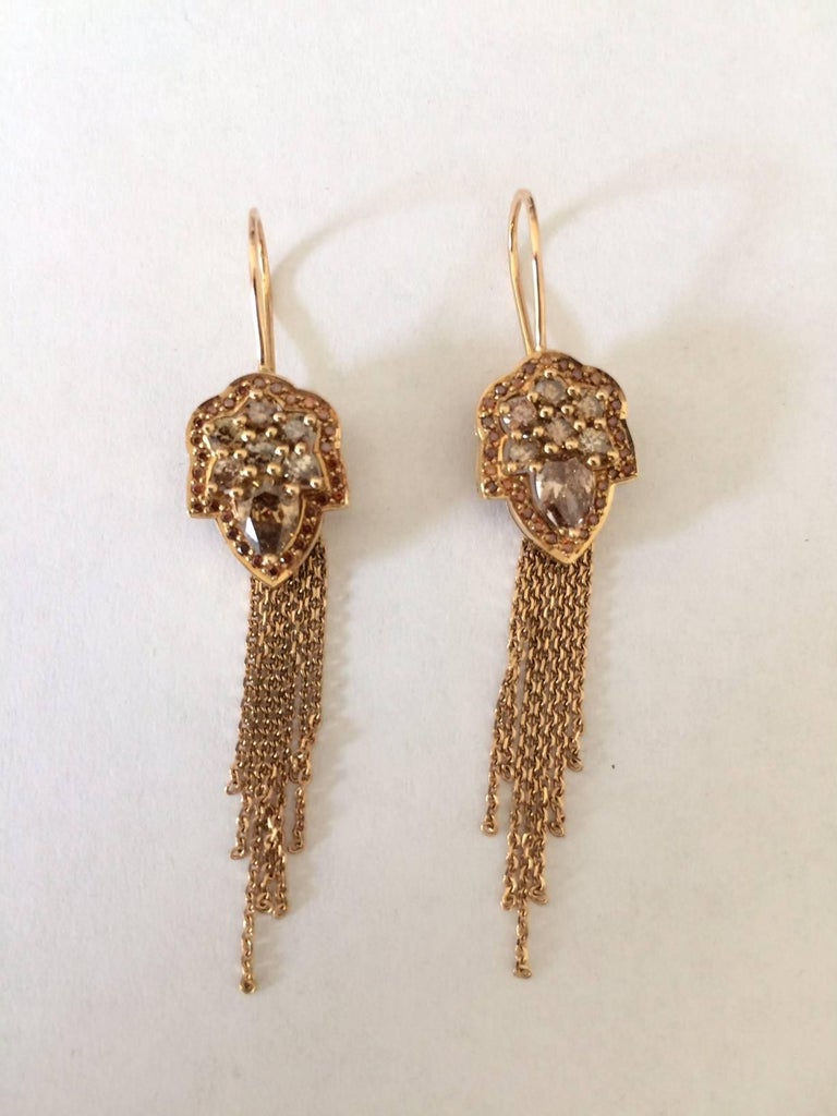 Women's Ana De Costa Rose Gold Pear Round Cognac Diamond Drop Chain Earrings For Sale