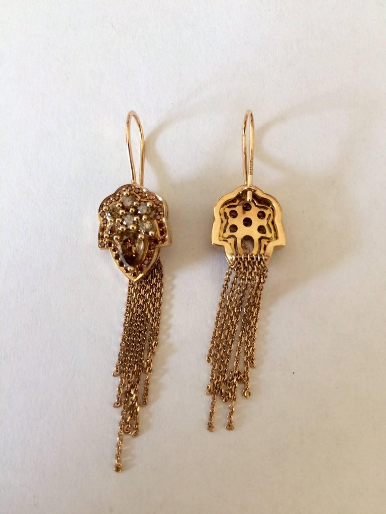 Ana De Costa Rose Gold Pear Round Cognac Diamond Drop Chain Earrings In New Condition For Sale In London, GB