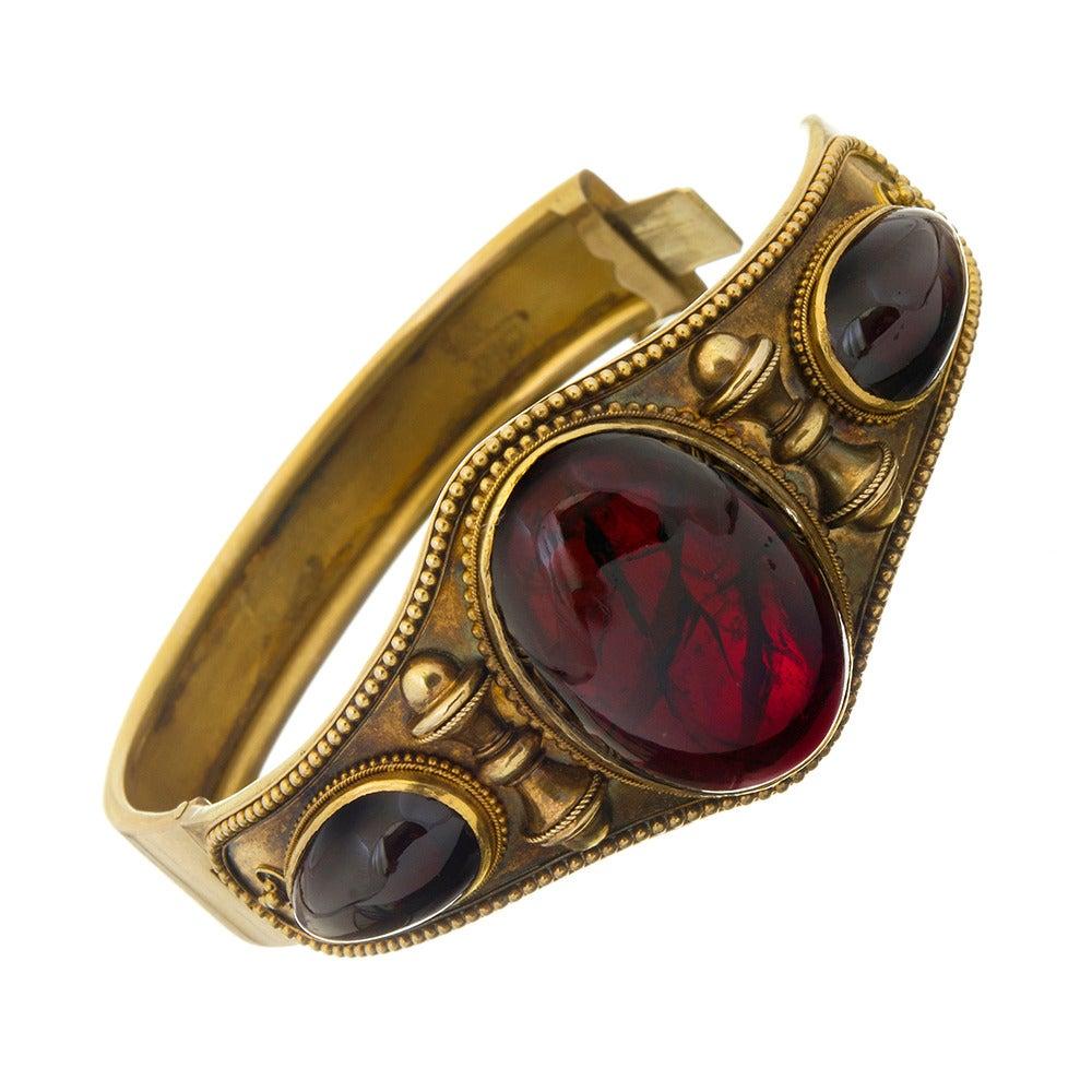 Victorian Cabochon Garnet Bangle Bracelet 2