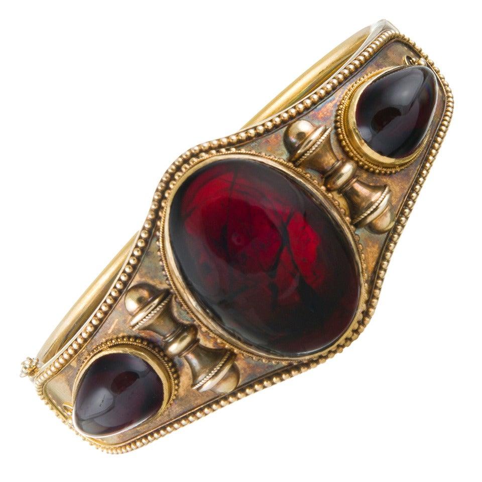 Victorian Cabochon Garnet Bangle Bracelet For Sale