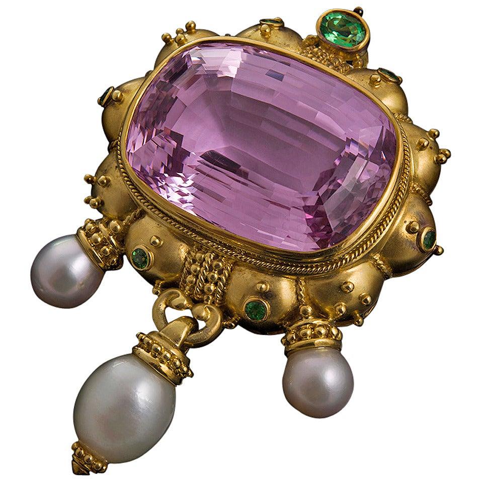 140 Carat Kunzite Tsavorite Pearl Brooch Pendant