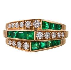 Oscar Heyman Emerald Diamond Gold Ring