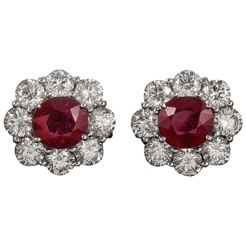 4.16 Carats Ruby and 3.78 Carats Diamond Cluster Earrings 1