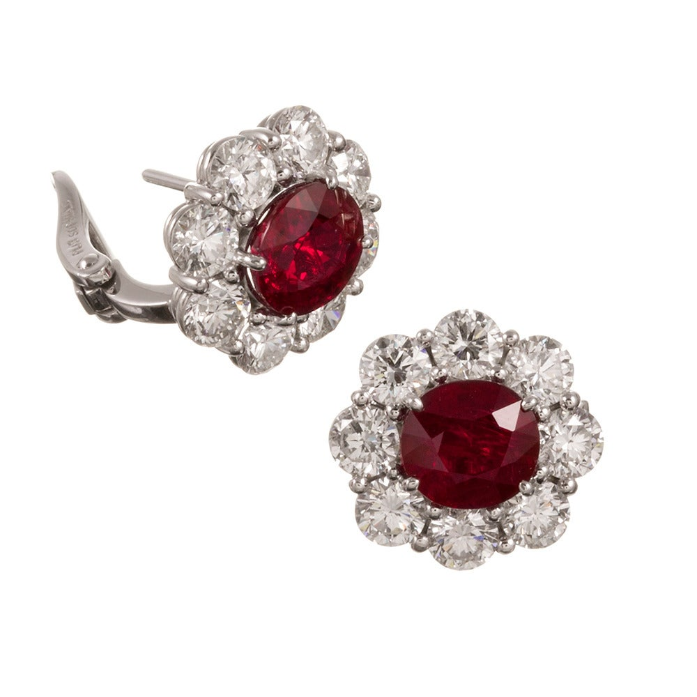 4.16 Carats Ruby and 3.78 Carats Diamond Cluster Earrings 2