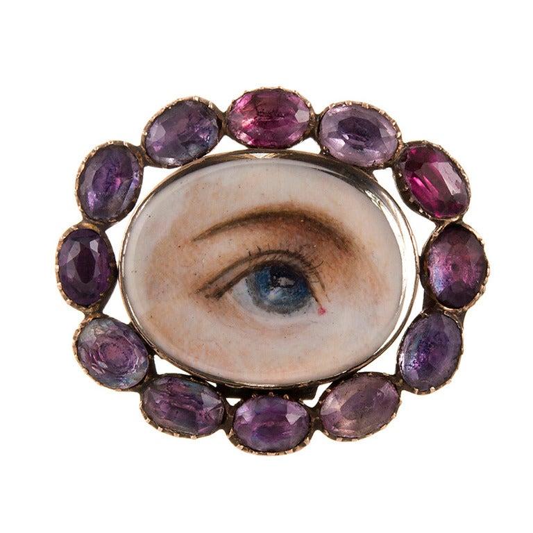 Lover's Eye Pin with Hair Locket Back, circa 1825