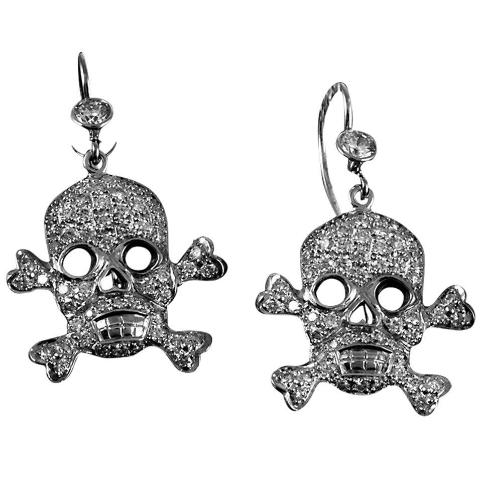 Diamond Gold Skull and Crossbones Earrings 1