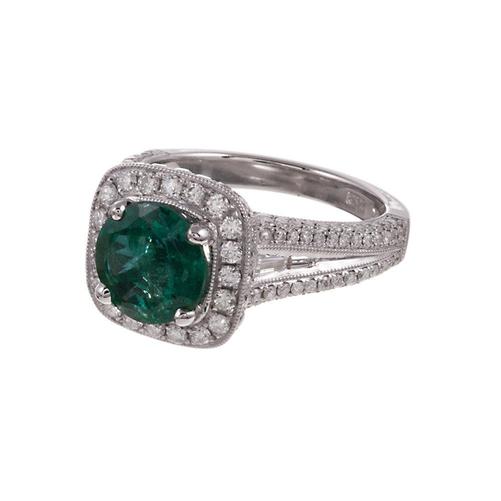 2 21 carat emerald halo ring at 1stdibs