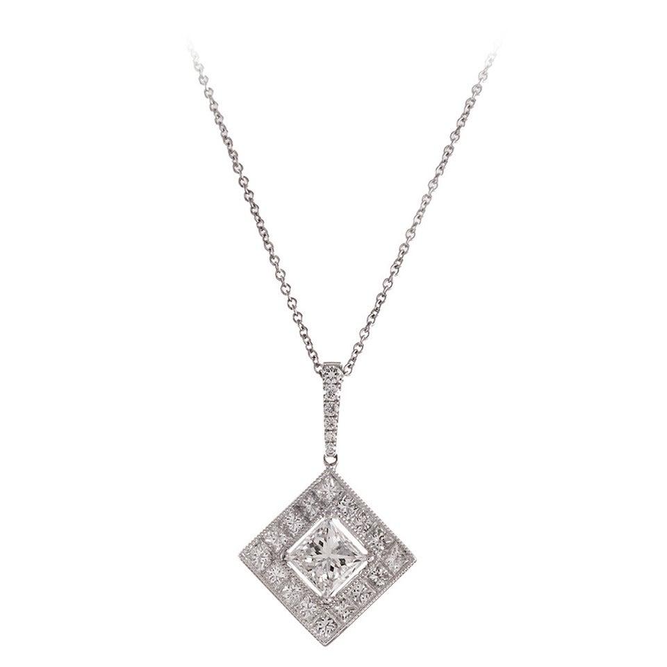 1.54 Carat H/Si1 Princess Cut Diamond Pendant