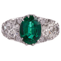 English Carved Style 2.25 Carat Emerald and Diamond Ring