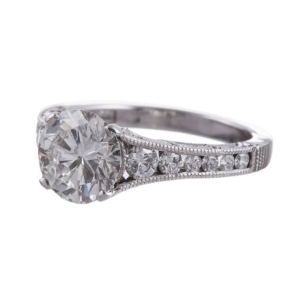 04 Carat Bands: Tacori 2.04 Carat Round Diamond Gold Engagement Ring For