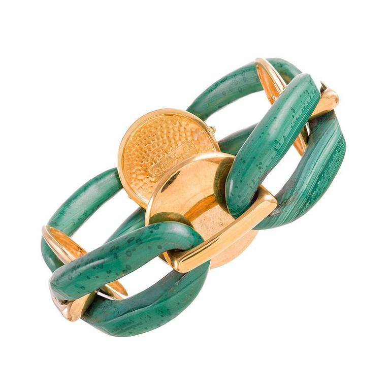 A. Cipullo Pair of Large Malachite and Agate Link Bracelets 5