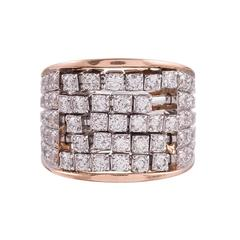 Gemayel 3.00 Carat Diamonds Two-Color Gold Abacus Ring