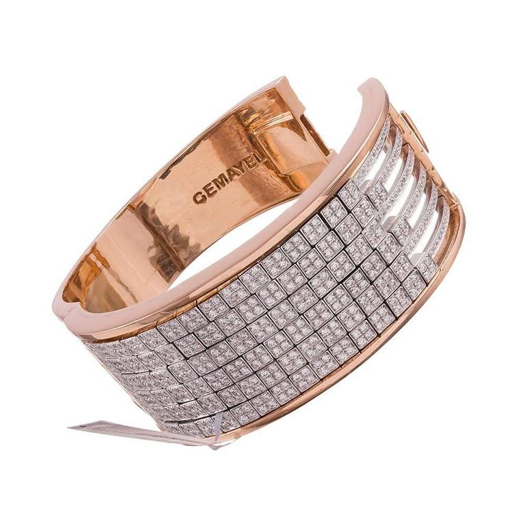 Gemayel 9.62 Carat Diamonds Two-Color Gold Abacus Bracelet In Excellent Condition For Sale In Carmel-by-the-Sea, CA