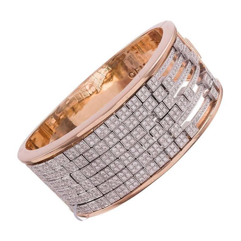 Gemayel 9.62 Carat Diamonds Two-Color Gold Abacus Bracelet For Sale