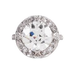 Art Deco 4.00 Carat Round Diamond Ring