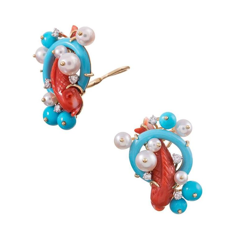 "Seaman Schepps Red Coral Turquoise Pearl Diamond Gold ""Koi"" Earrings 2"