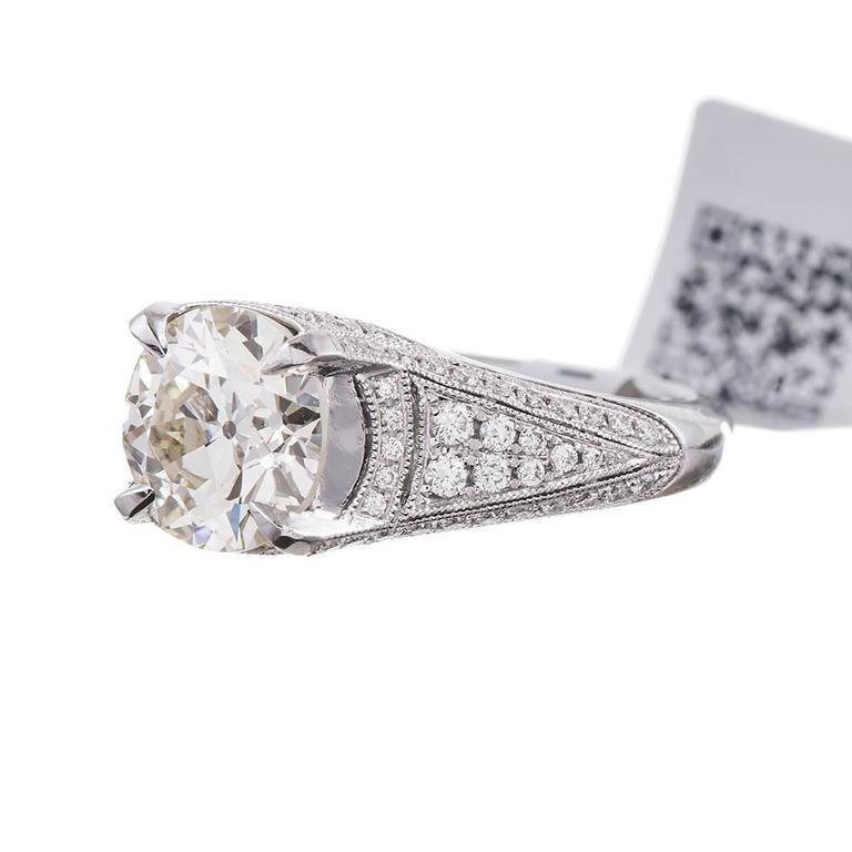 Carat old european brilliant diamond platinum ring for What is platinum jewelry made of