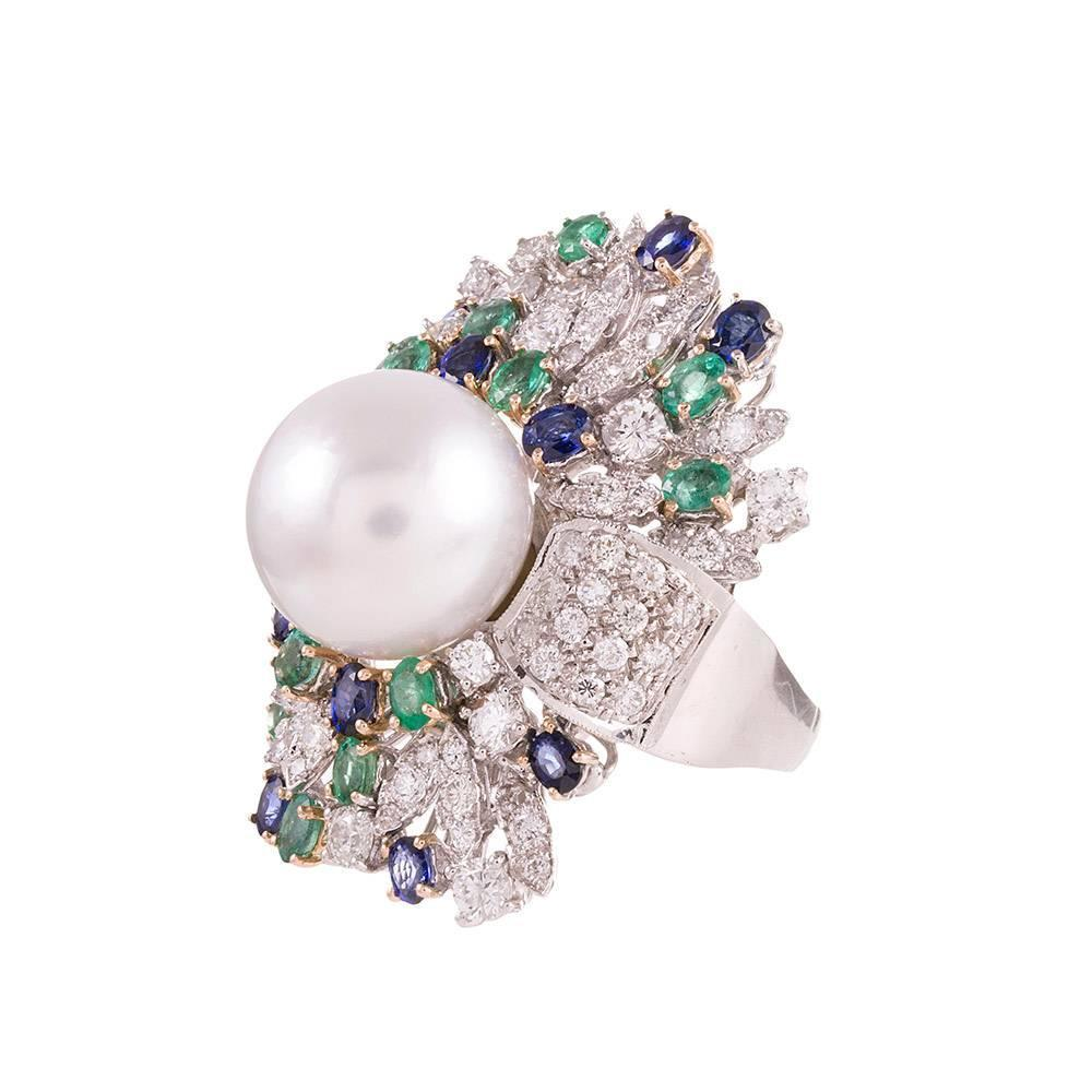 pearl sapphire emerald gold luise quot cocktail ring