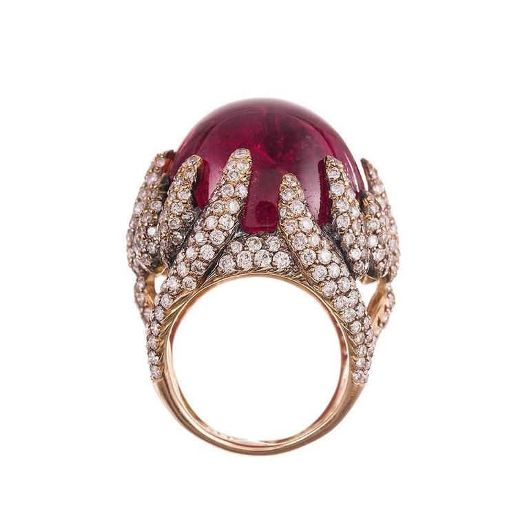 95 carat cabochon pink tourmaline gold ring at 1stdibs