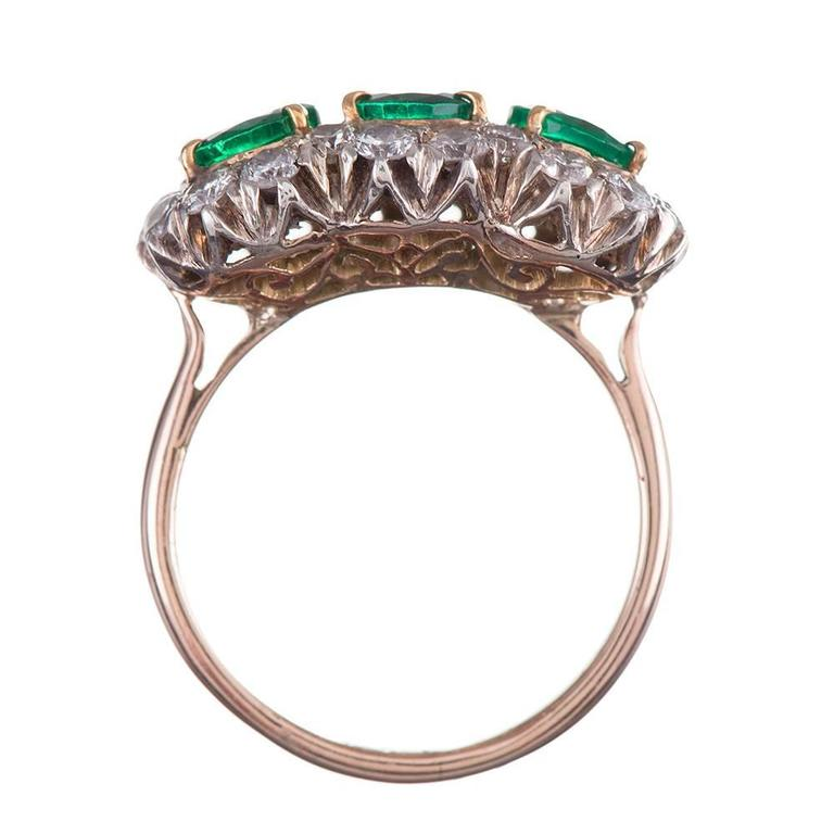 Women's 1960s Emerald Diamond Two-Color Gold Cluster Ring For Sale