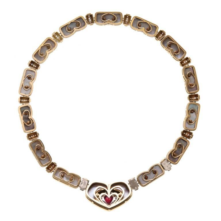 1ca6323acc7ad Harry Winston Black Mother of Pearl Ruby Diamond Gold Necklace