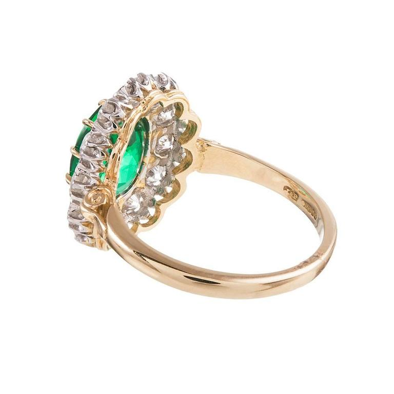 2.73 Carat Emerald Diamond Gold Cluster Ring In As New Condition For Sale In Carmel-by-the-Sea, CA