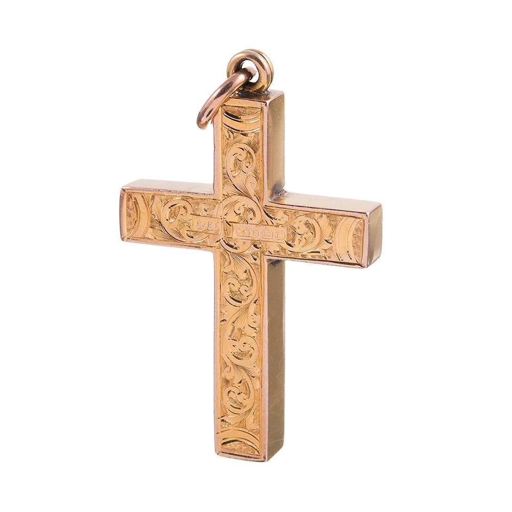 gold engraved cross pendant at 1stdibs