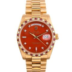 "Rolex Yellow Gold Orange ""Stella"" Dial Day-Date Wristwatch"