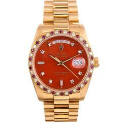 """Rolex Yellow Gold Orange """"Stella"""" Dial Day-Date Wristwatch"""