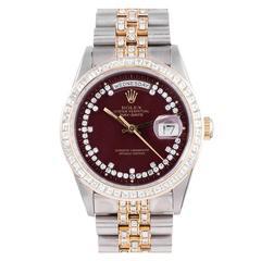 "Rolex White and Yellow Gold Day-Date Jubilee Karat Bracelet ""Stella"" Wristwatch"