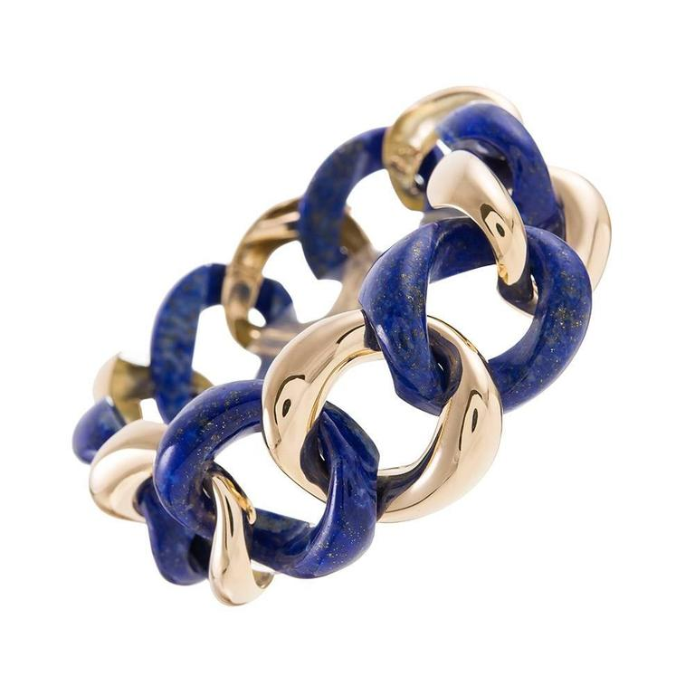 Seaman Schepps Lapis Gold Medium Link Bracelet For Sale