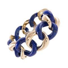 Seaman Schepps Lapis Gold Medium Link Bracelet
