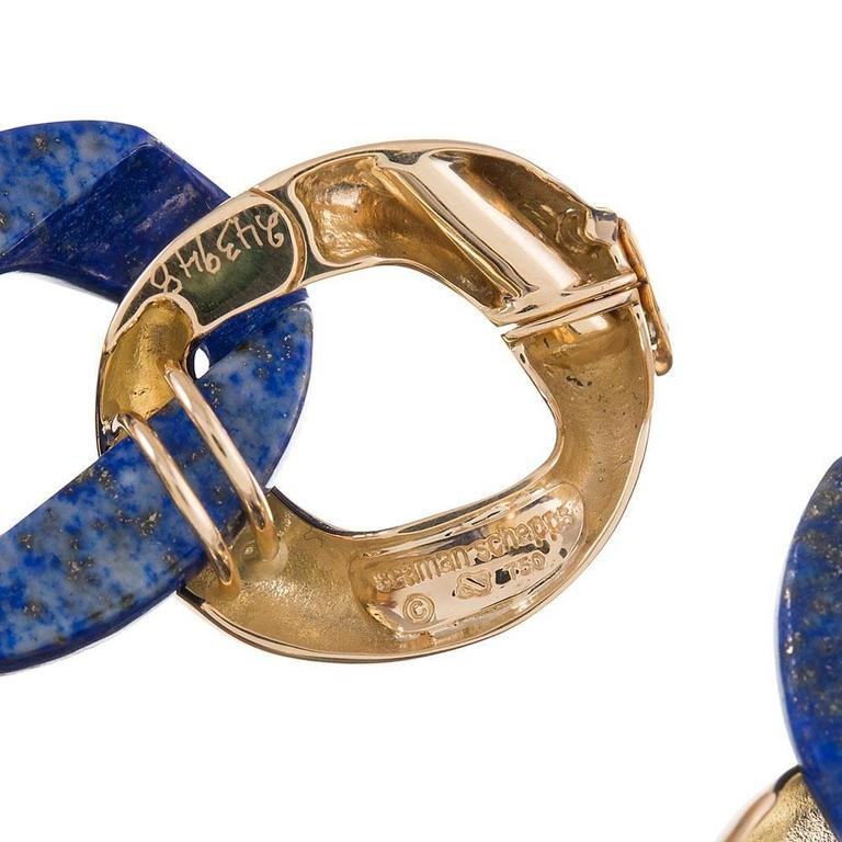 Seaman Schepps Lapis Gold Medium Link Bracelet In As new Condition For Sale In Carmel-by-the-Sea, CA