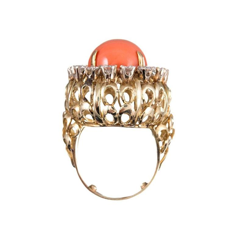 Women's 1960s Coral Cabochon Diamond Gold Cluster Ring For Sale