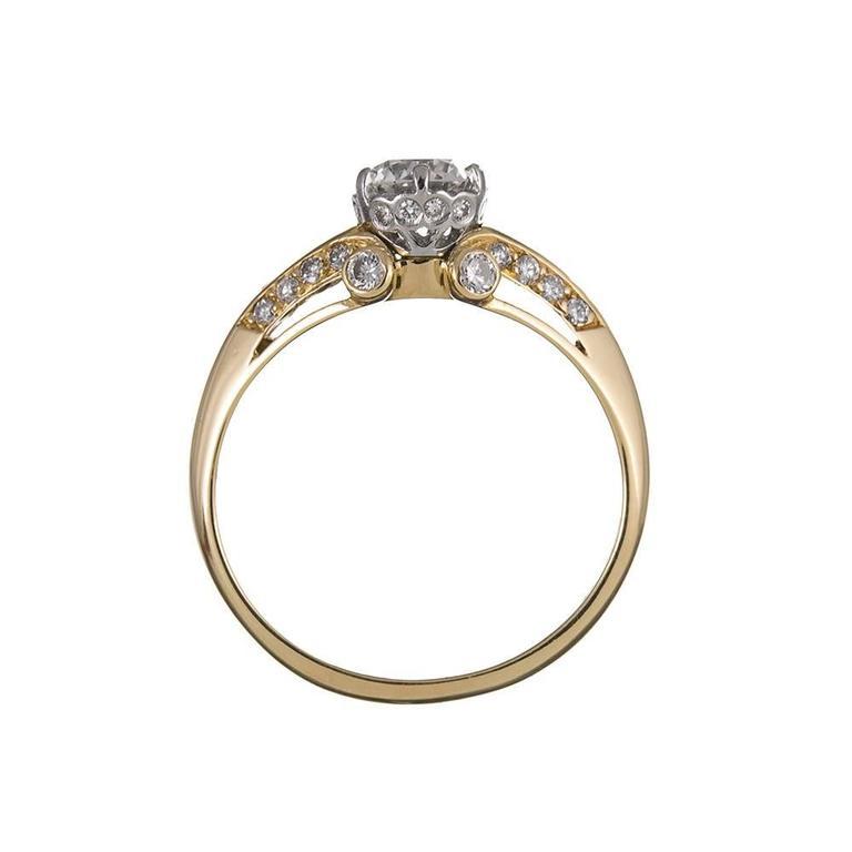 Women's .61 Carat Center Old European Cut Diamond Gold Solitaire Ring