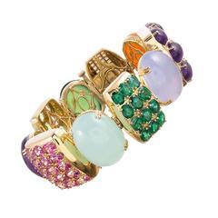 131.57 Carat Gemstone Diamond Gold Bracelet