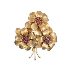 Tiffany & Co. Ruby Yellow Gold Flower Brooch