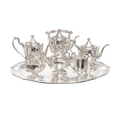 "Eight-Piece Sterling Silver Tea Service Made for ""Hardy & Hayes Co."""