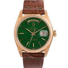 Rolex Yellow Gold Green Stella Dial Day-Date Wristwatch Ref 18038