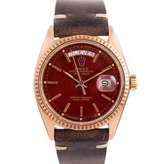 Rolex Rose Gold Oxblood Stella Dial Day-Date Wristwatch