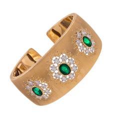Mario Buccellati Emerald Diamond Gold Wide Cuff Bracelet