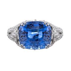 9.03 Carat Cornflower Blue Sapphire Diamond Platinum Floral Ring