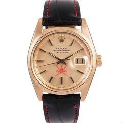 Rolex Yellow Gold Florentine Bezel Datejust Omani Khanjar Dial Wristwatch