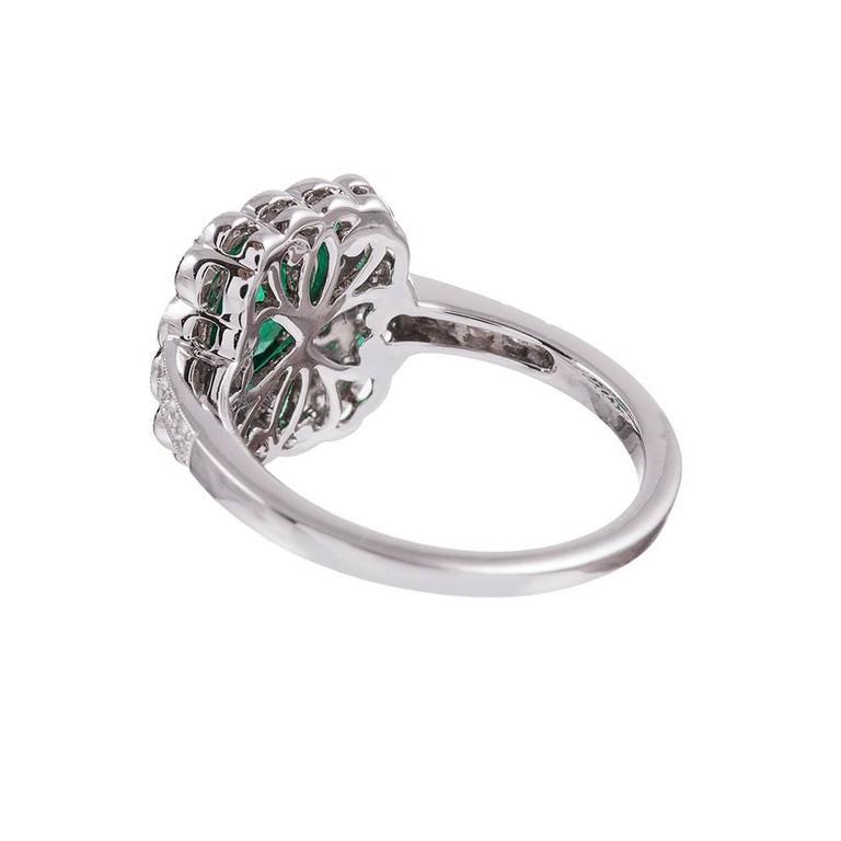 Emerald Diamond Plaque Ring In New Condition In Carmel-by-the-Sea, CA